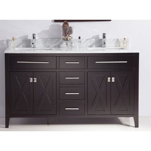Wimbledon Collection Espresso Finish Maple, Wood, and Marble Double Vanity with Marble Countertop - Brown