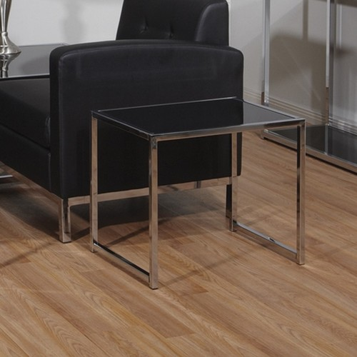 Office Star Products Coffee, Console, Sofa & End Tables Ave Six Yield Black and Chrome Accent Corner Table