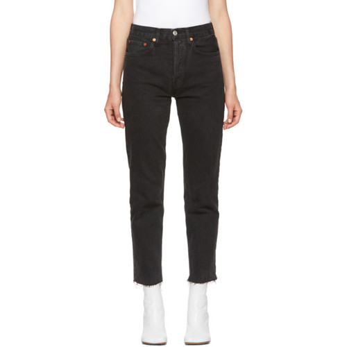 RE/DONE Black Originals High-Rise Stovepipe Jeans