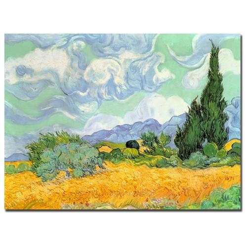 Vincent van Gogh 'Wheatfield with Cypresses 1889' Canvas Art [option : 18x24]