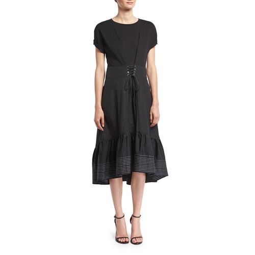 3.1 PHILLIP LIM Short-Sleeve Corset-Waist Midi Dress, Black