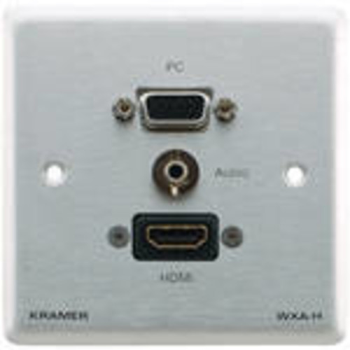15-Pin Sub-D HD VGA, 3.5mm Audio, and HDMI Wall Plate (Gray)