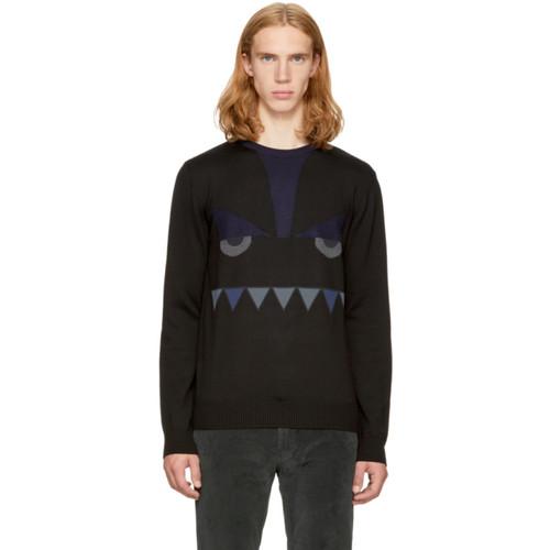 FENDI Black 'Bag Bugs' Crewneck Sweater