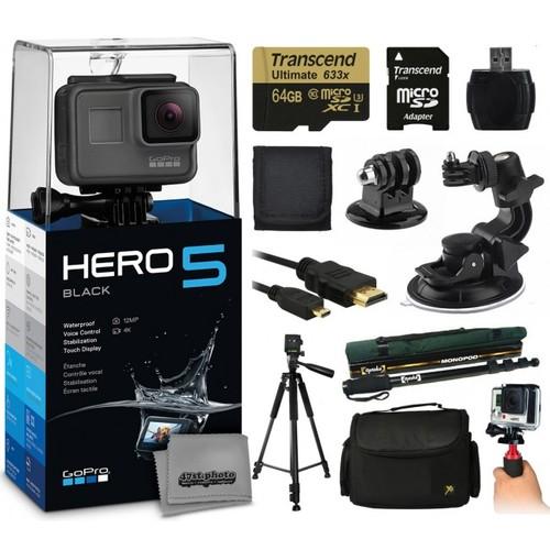 GoPro HERO5 Black + Tripod, Monopod, Case, Stabilizer, Car Mount & More