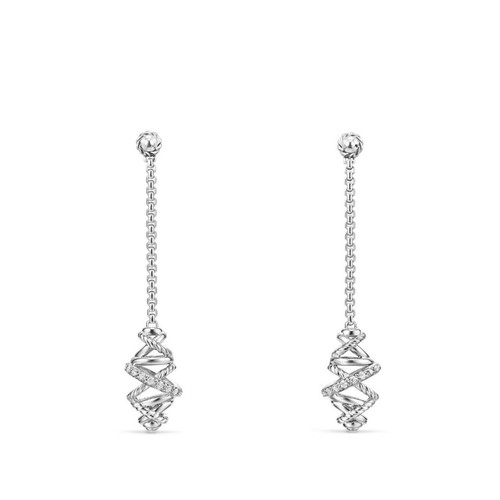 Crossover Chain Drop Earrings with Diamonds