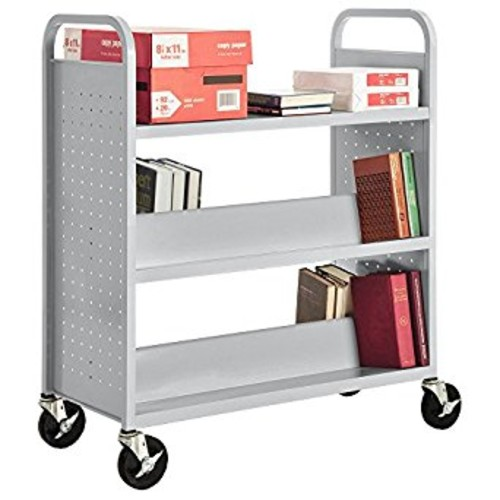 Sandusky Lee SV336-05 Double Sided Sloped Shelf Welded Book Truck, 19