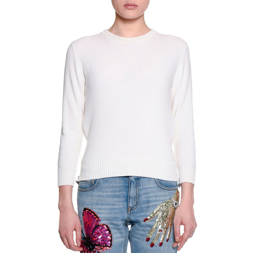 ALEXANDER MCQUEEN Cropped Cashmere Side-Zip Sweater, Ivory