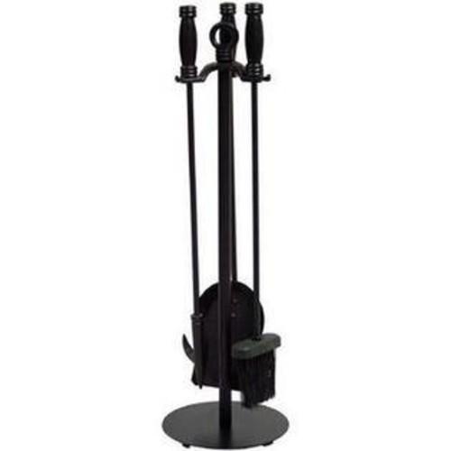 UniFlame 4 Piece Black Wrought Iron Fireset