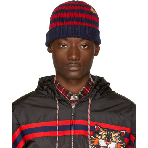 GUCCI Red & Navy Striped Wool Beanie