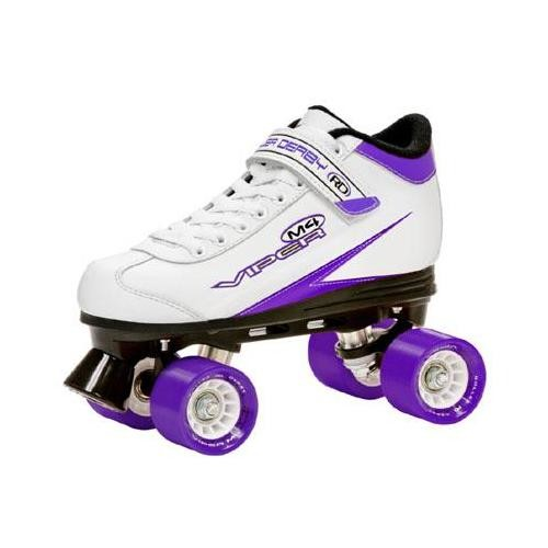 Roller Derby Viper M4 Women's Speed Quad Skates - U724W (White/Purple/Black - 5)