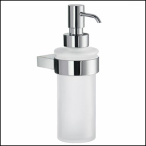 Air Line Wallmount Holder with Frosted Glass Soap Dispenser [Chrome]