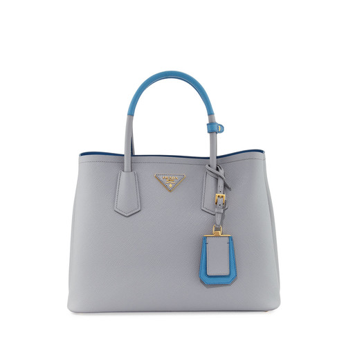 PRADA Saffiano Cuir Medium Bicolor Double Tote Bag