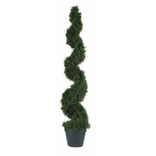 Nearly Natural 4 ft. Indoor Outdoor Cedar Spiral Silk Tree