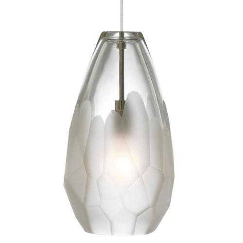 LBL Lighting Briolette 1-Light Satin Nickel Frost LED Hanging Mini Pendant