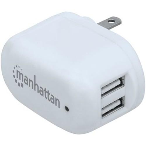 MANHATTAN 101738 PopCharge Home NEMA 5-15 Dual-USB Wall Charger