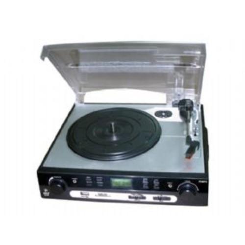 Pyle PLTTB9U Record Turntable - 33.33rpm, 45rpm, 78rpm Speed, AM/FM Tuner, Secure Digital (SD) Card, 1 x USB, MultiMediaCard (MMC)