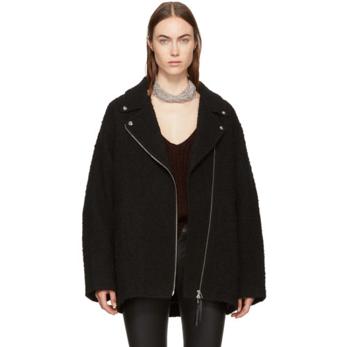 T BY ALEXANDER WANG Black Asymmetric Zip Coat