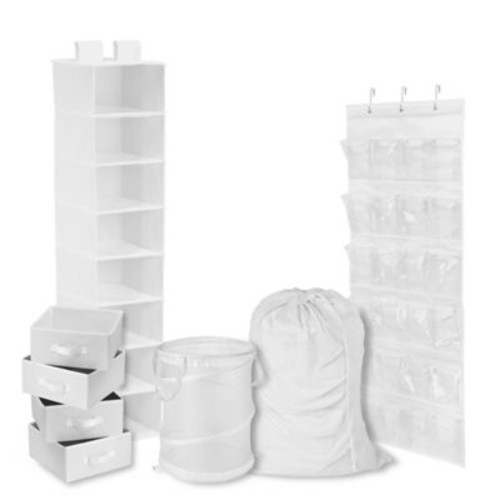 Honey-Can-Do 8-Piece Room and Laundry Organizer in White