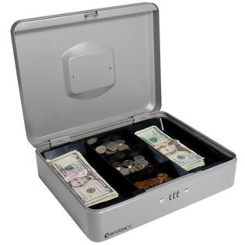 Barska CB11788 12 in. Cash Box with Combination Lock Grey