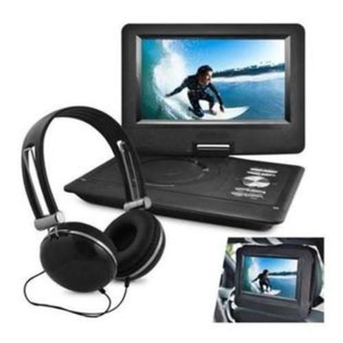 Ematic EPD116BL 10 in. Port DVD Headphone Bundle, Black