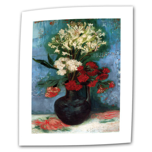 Vincent van Gogh 'Vase With Carnations and Other Flowers' Flat Canvas Art