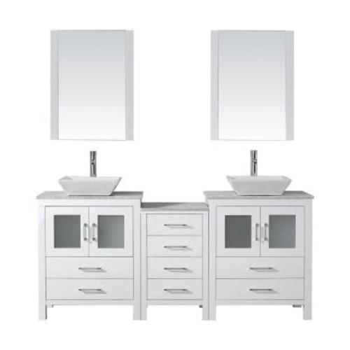 Virtu USA Dior 74 in. W x 18.3 in. D Vanity in White with Marble Vanity Top in White with White Basin and Mirror