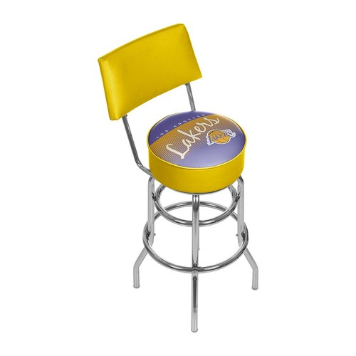 Los Angeles Lakers Hardwood Classics Padded Swivel Bar Stool with Back