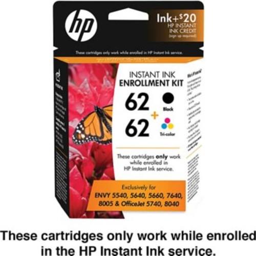 HP 62 Black/Tri-color Instant Ink Enrollment Kit (T6N14AN), 2PACK