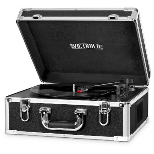 Victrola Full Size Bluetooth Turntable with CD -Black with Aluminum Accents