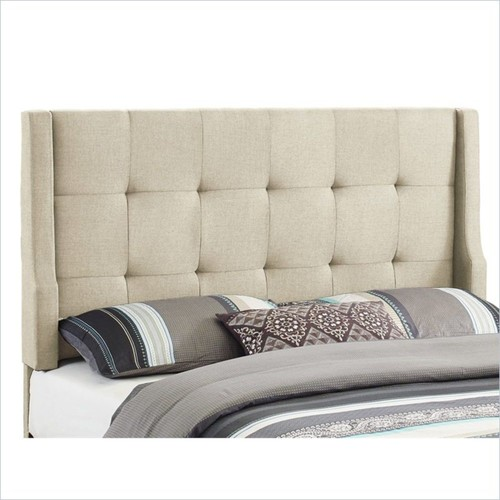Linon - Linon Luxe Full/Queen Tufted Wingback Panel Headboard in Natural - White
