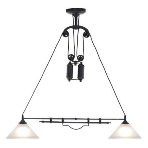 Industrial 2-Light Antique Black Gold Pendant Ceiling Lamp - ZM Home