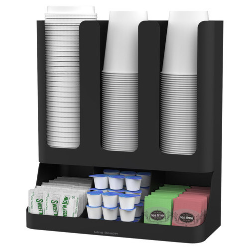 Mind Reader - Flume 6-Compartment Upright Coffee Condiment and Cups Organizer - Black