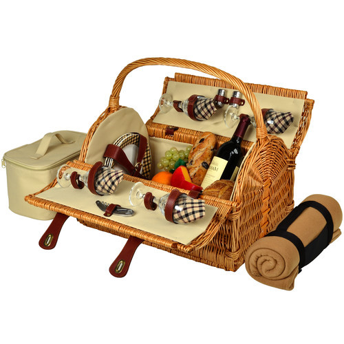 Picnic at Ascot Yorkshire Willow Picnic Basket with Service for 4 with Blanket - London Plaid [Wicker with London Plaid plates & napkins]
