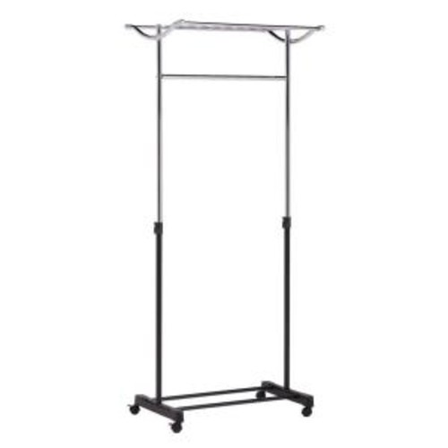 Honey-Can-Do Steel Rolling Garment Rack with Top Shelf in Chrome/Black
