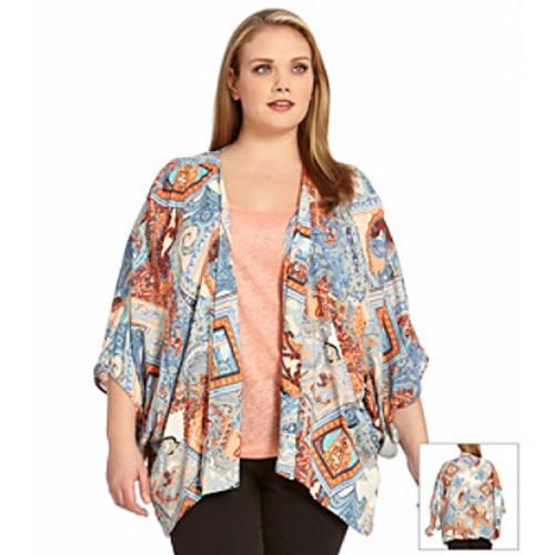 Karen Kane Plus Size Paisley Printed Kimono
