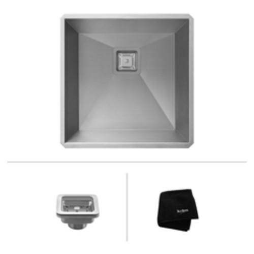 Pax Zero-Radius 18 1/2 Inch 18 Gauge Handmade Undermount Single Bowl Stainless Steel Bar/Prep Sink [KHU19; Stainless Steel]