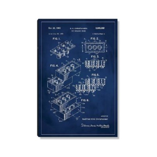 17 Stories 'Lego Patent' Graphic Art Print on Wood in Blue; 24'' H x 16'' W
