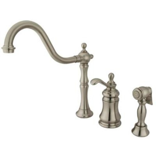 Kingston Brass Victorian Single-Handle Standard Kitchen Faucet with Side Sprayer in Satin Nickel