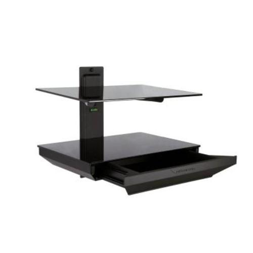 Atlantic 2-Tier AV Component Shelf with Drawer - Black