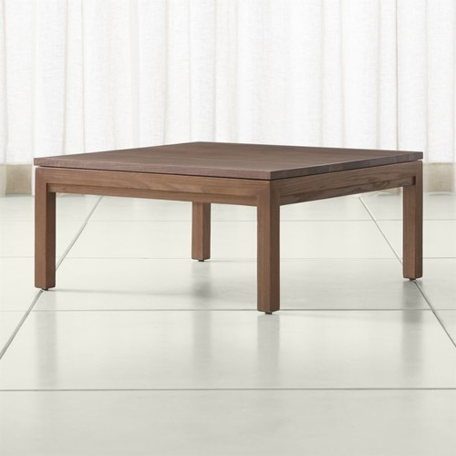 Parsons Walnut Top/ Elm Base 36x36 Square Coffee Table