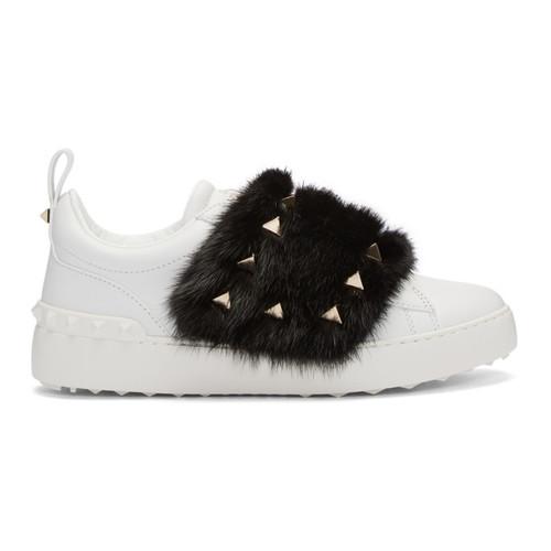 VALENTINO White  Garavani Fur Laceless Rockstud Sneakers