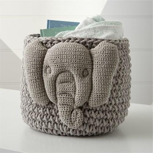Knit Elephant Storage Bin