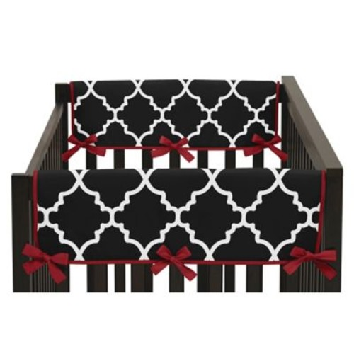 Sweet Jojo Designs Trellis Side Crib Rail Covers in Black/White (Set of 2)