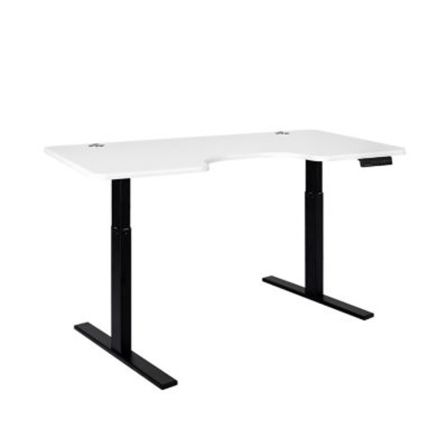 SmartDesk Standing Desk with Electric Adjustable Height - Black Frame and White Ergo Top