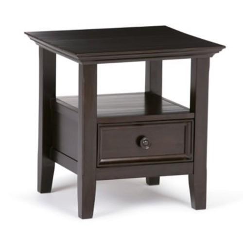 Simpli Home Amherst End Side Table in Dark Brown
