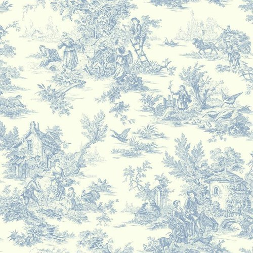 Sample Campagne Toile Wallpaper in Blue by Ashford House for York Wallcoverings