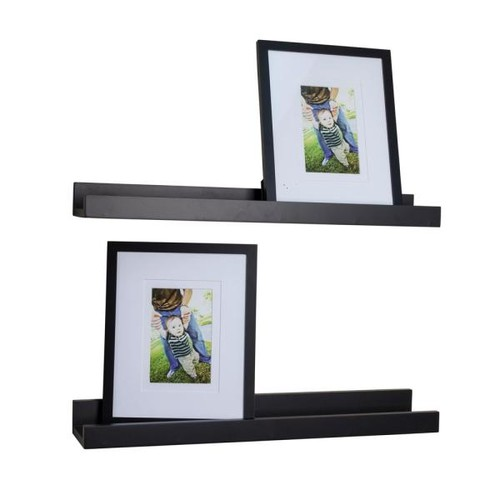 DANYA B Contempo 21.5 in. W x 2 in. H Black MDF Ledge Shelves (Set of 2) with 2 Photo Frames