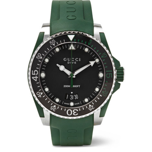 Gucci - Dive 40mm Stainless Steel and Rubber Watch
