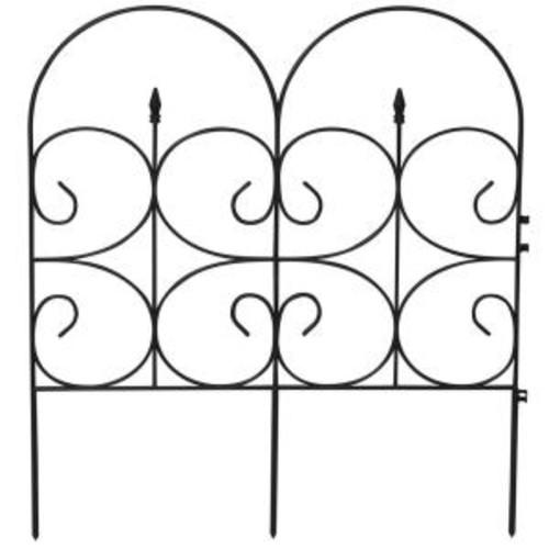 Emsco Victorian Black Resin Fleur De Lis Large 32 in. Fence Garden Fencing (6-Pack)