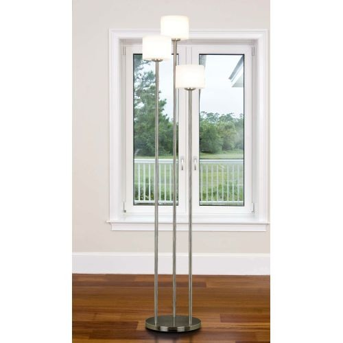 Kenroy Home Matrielle 3-Light Torchiere, Brushed Steel